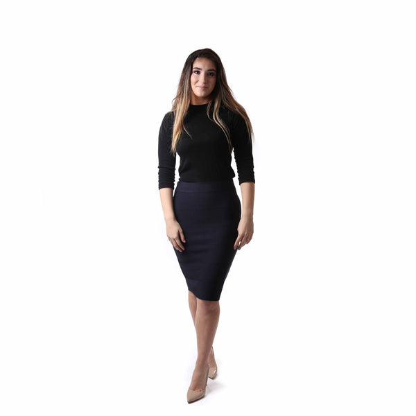 Womens Ribbed Bandage Pencil Skirt