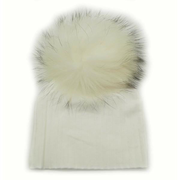 Baby Cotton Ribbed Pom Pom Hat