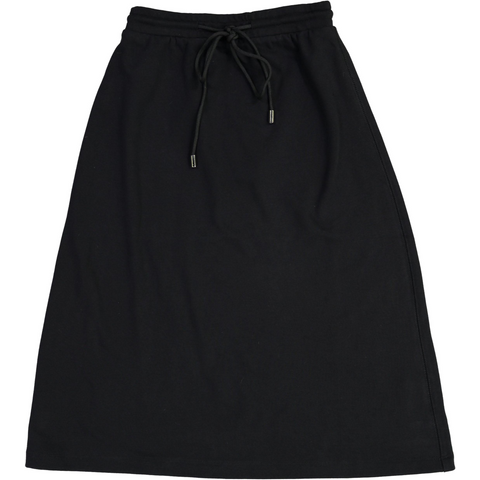 Women's Cotton Black Drawstring Skirt