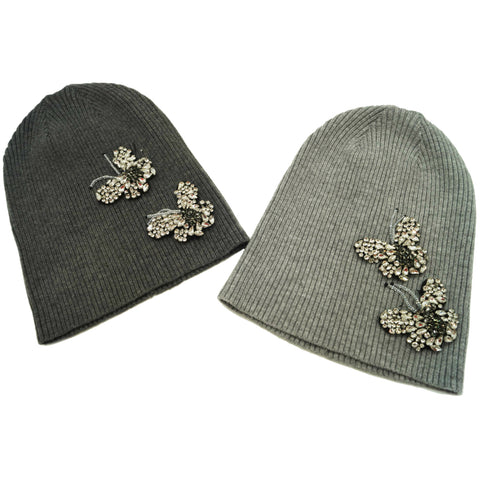 Ladies Ribbed Butterfly Applique Beanie