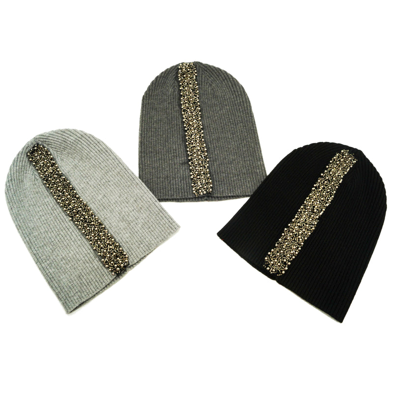 Ladies Ribbed Embellished Strip Hat