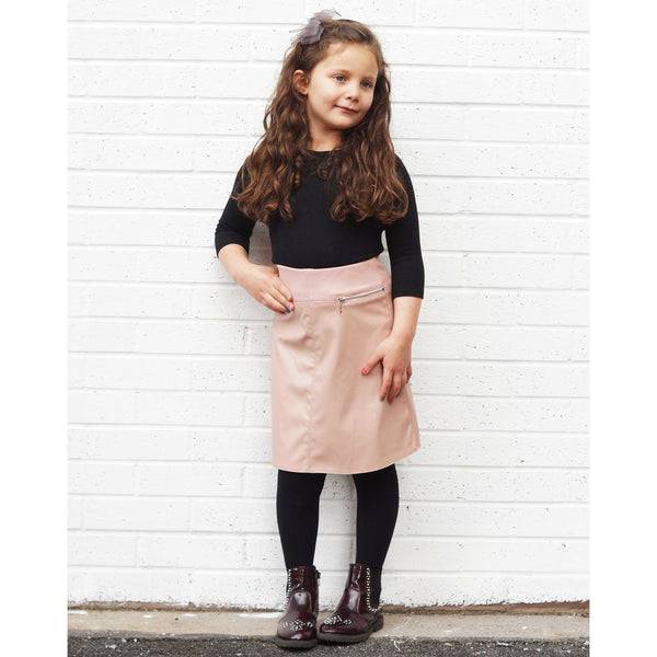 Girls Leather Elasticated Skirt
