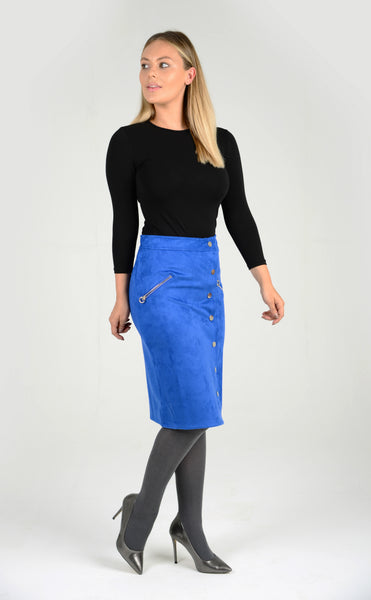 Button Down Faux Suede Skirt