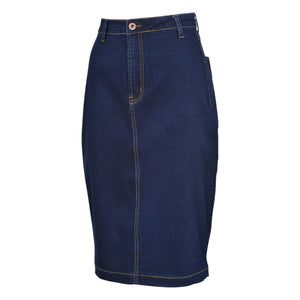denim jeans skirt womens teen girls pencil washed blue navy