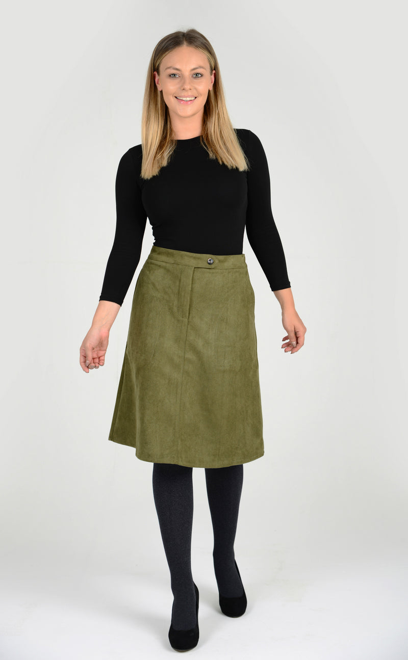 Womens suede knee length skirt with zipper and popper. A-line ladies skirt from BGDK, specialists in modest tznius clothing