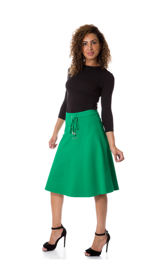 Eyelet Lace-up A-line Skirt