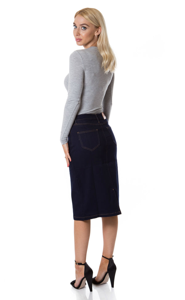 Black Denim Skirt with Pockets