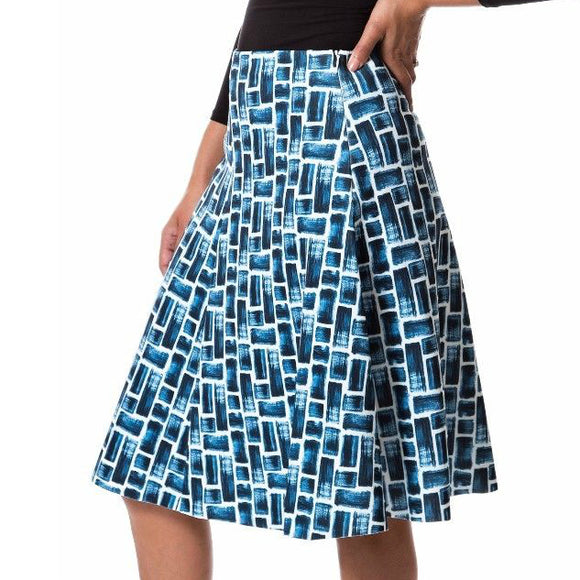 ladies modest patterned knee length scuba stretch skirt