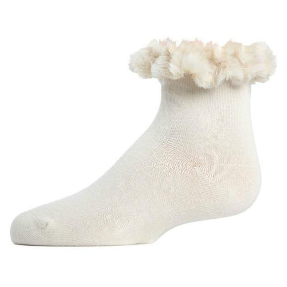 Girls ankle socks with fur cuffs, in black, charcoal and winter white. Fashion accessories and clothing for girls, teens and women