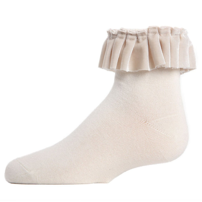 Velvet Pleated Anklet Socks