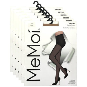 Crystal Sheer Control Top Pantyhose - 6 Pack