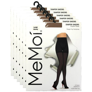Crystal Sheer Shaper Control Top Tights - 6 Pack