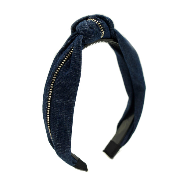 Denim Zip Knot Hairband