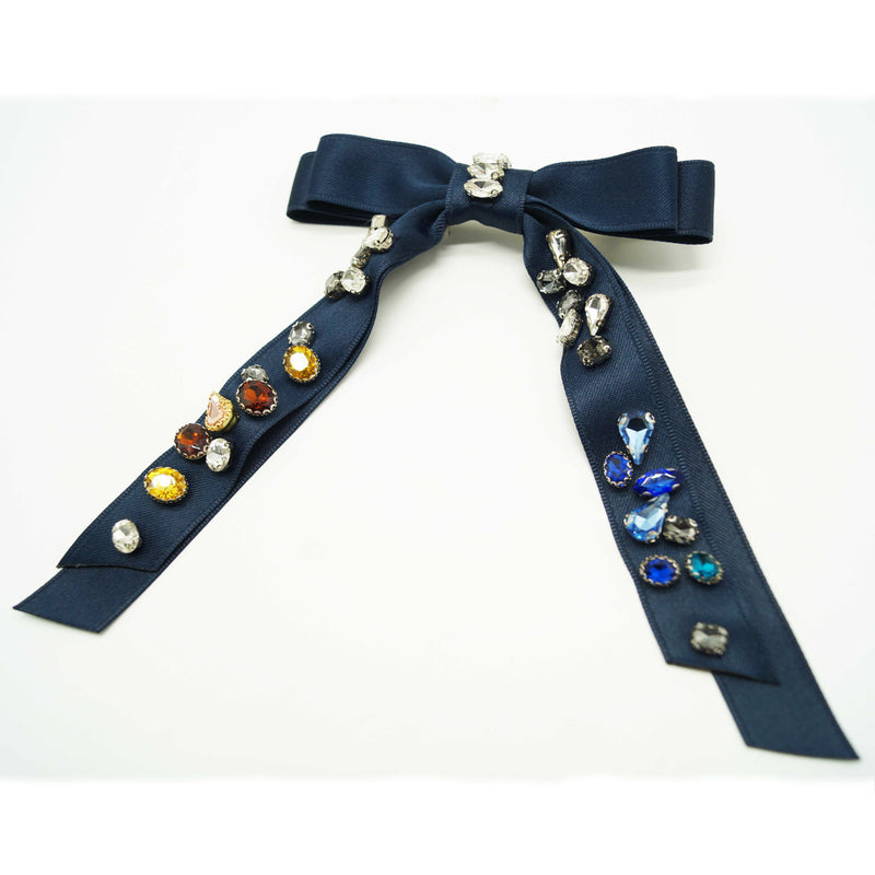 Embellished Gemstone Ribbon Barrette