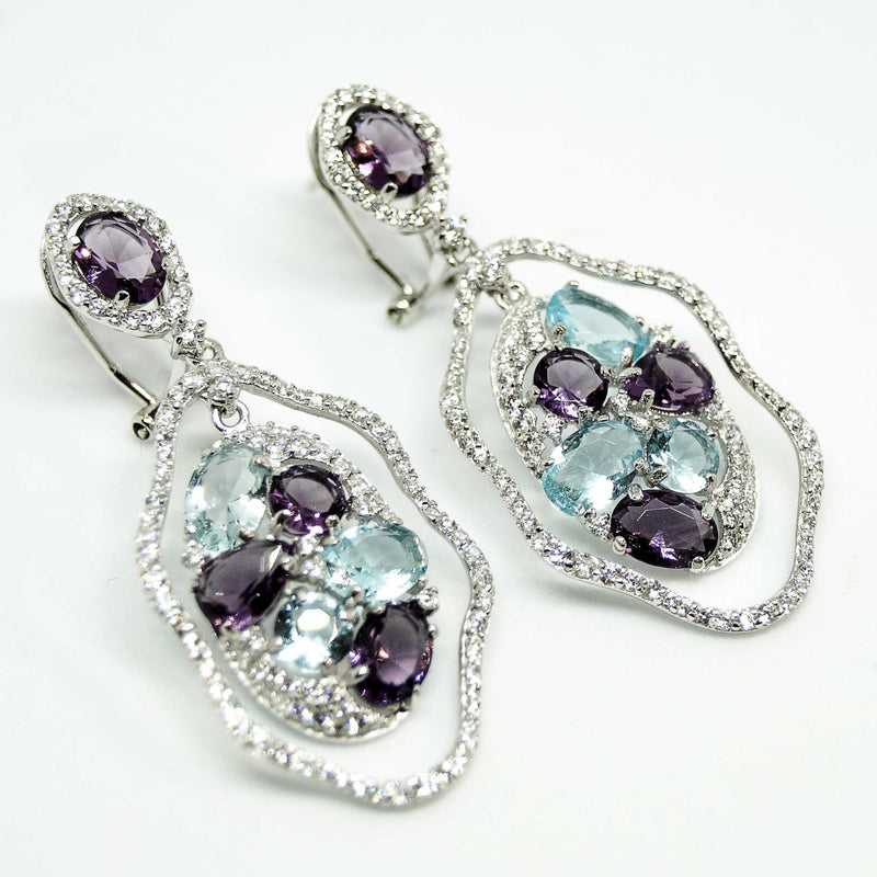 Purple Blue Wave Flower Earrings