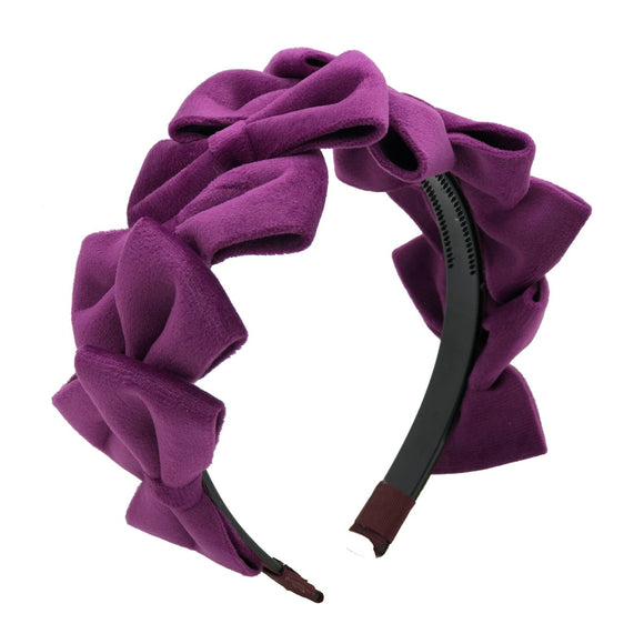 Purple velvet hairband girls winter hair accessories
