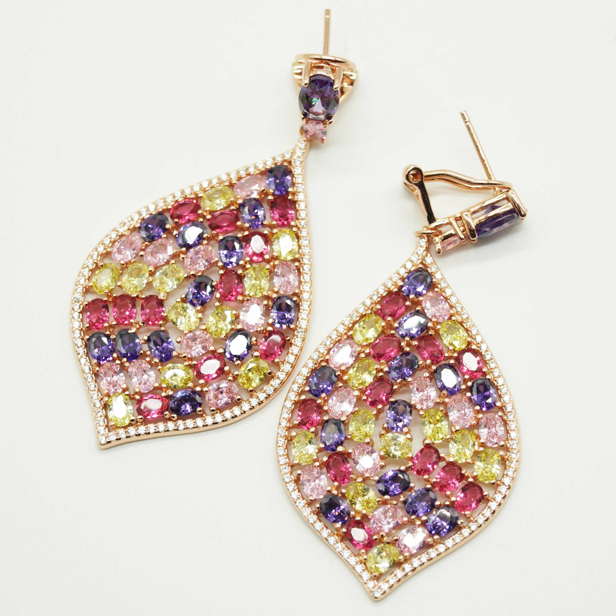 Rose Colour Filled Drop Earrings