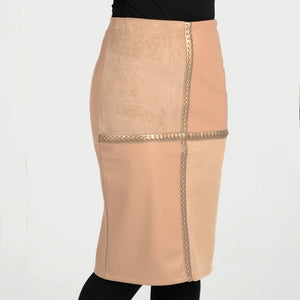 ladies leather and suede skirt knee length winter all year braid pencil straight women teens all sizes