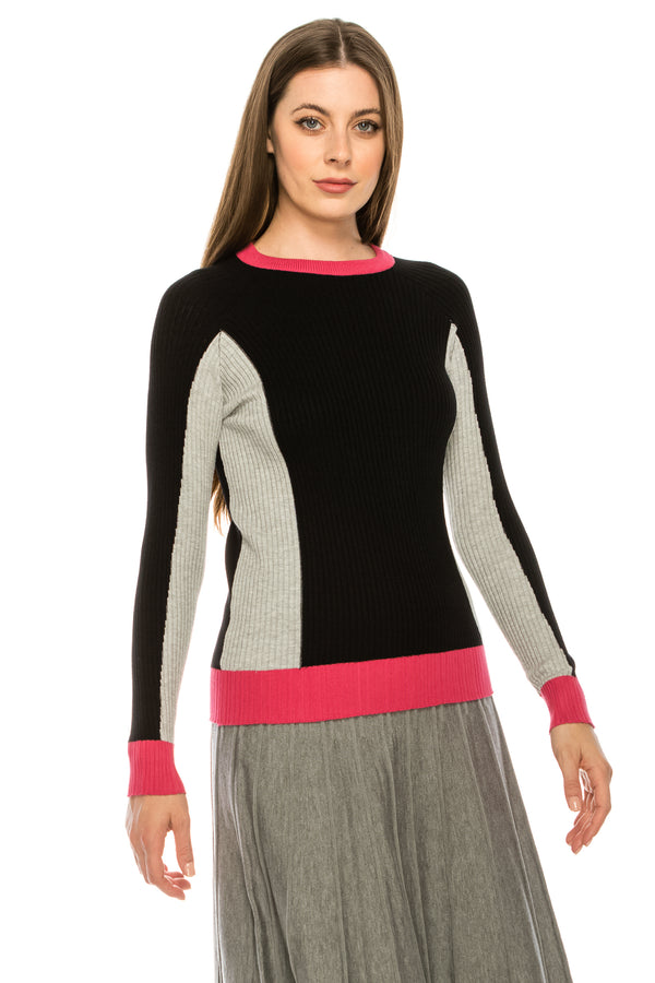 Ribbed Colour Block Top