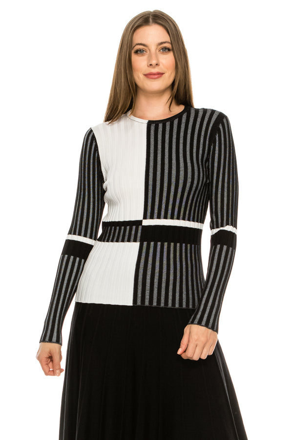Ribbed Colour Block Striped Top