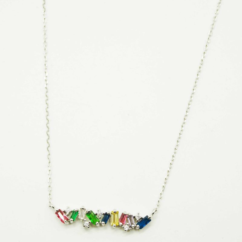 Silver Multicolour Bar Necklace