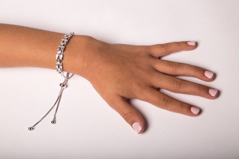 Silver Fancy Crystal Bracelet