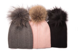 Women's Ribbed Knit Pompom Hat