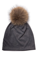 Women's Cotton Beanie with Pompom