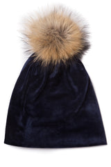 Women's Velvet Beanie with Pompom