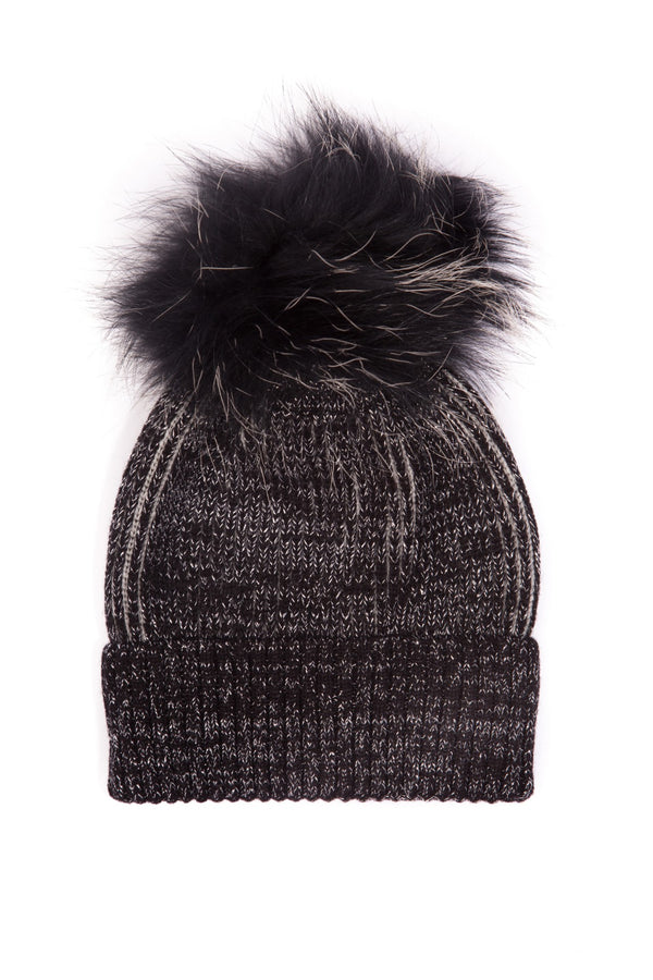 Kids' Two-Tone Pom-Pom Hat