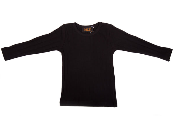 Wide Ribbed Long Sleeve Top - Basic Colours