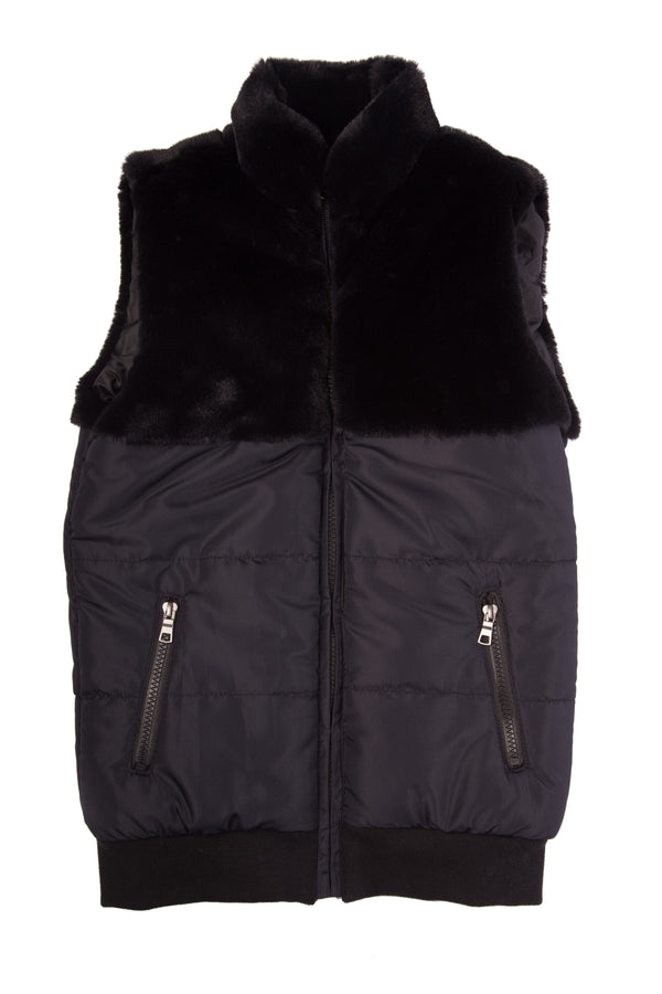 Girls Sleeveless Furry Jacket