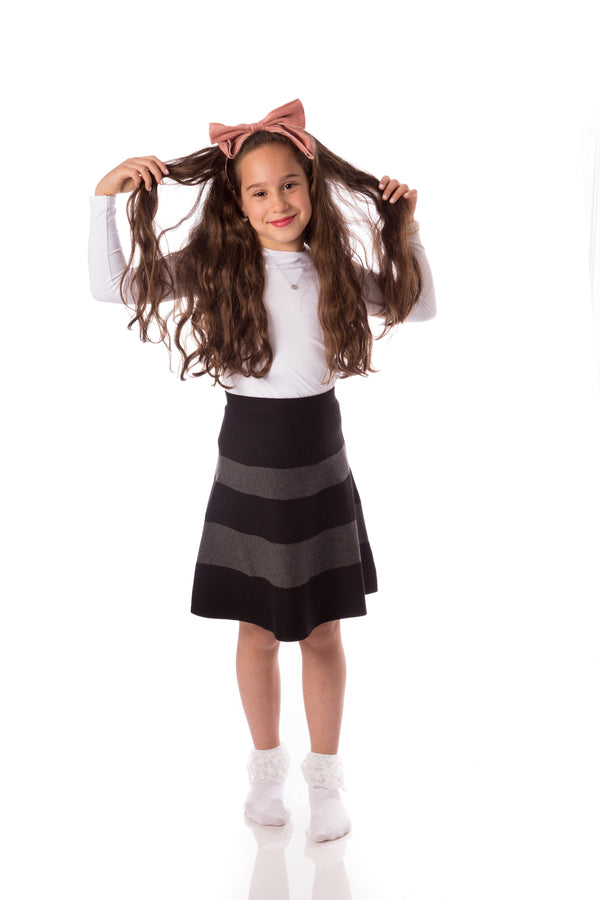 Girls Black & Grey Knit Skirt