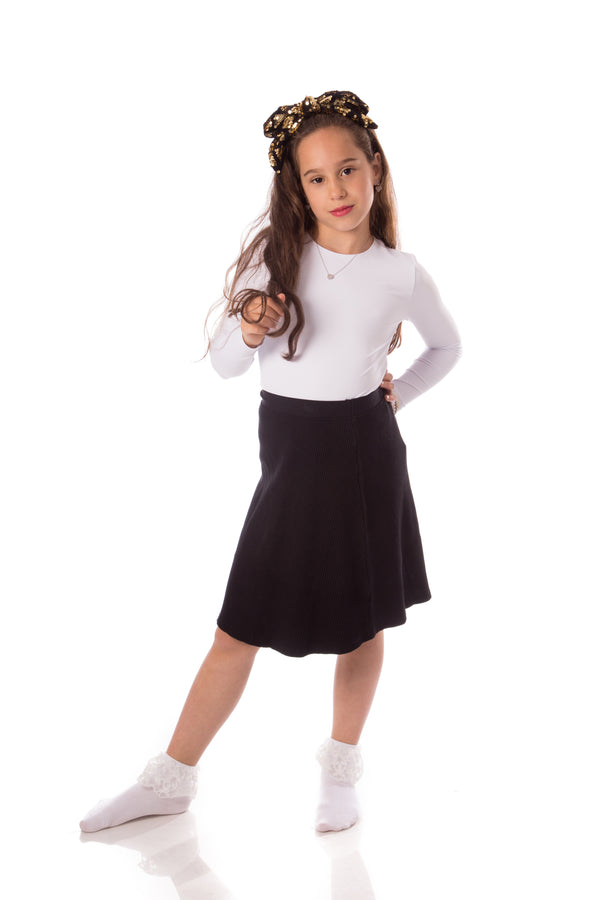 Girls Ribbed Knit Skirt