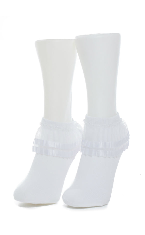 Two Tone Lace Anklet Socks