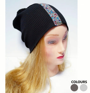 Mosaic Strip Ribbed Beanie Hat