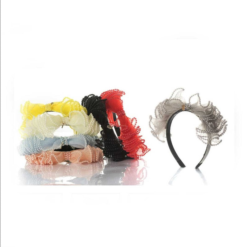 Chiffon Bow Hairband with Pearls