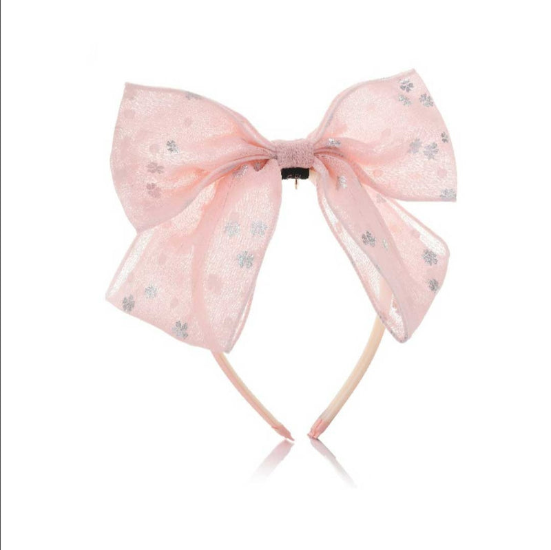 Chiffon Bow Hairband with Flowers