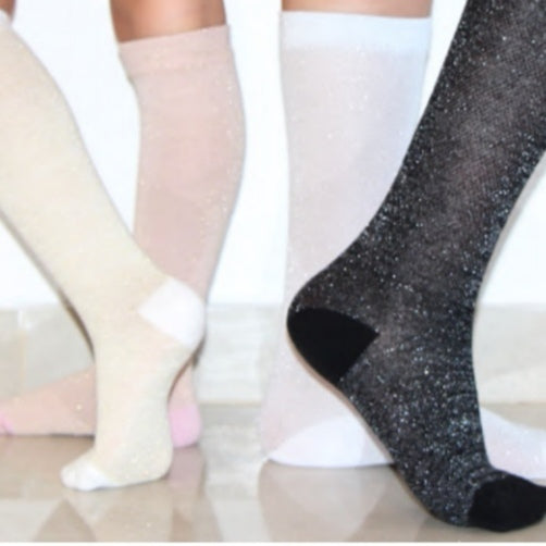 Metallic Mesh Knee High Socks