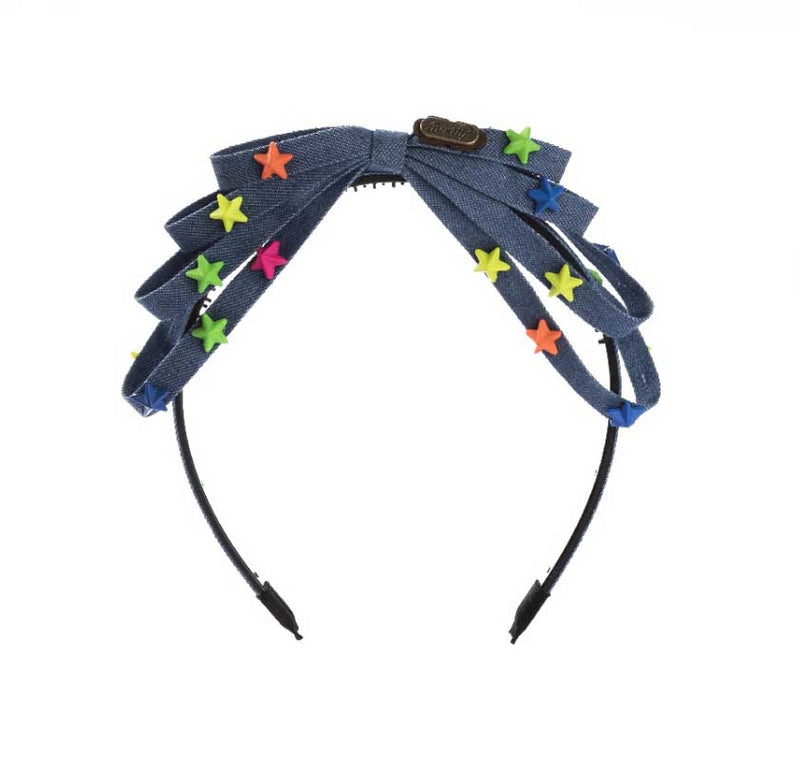 Denim Bow Star Headband