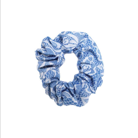 Denim Scrunchie with Lace Effect