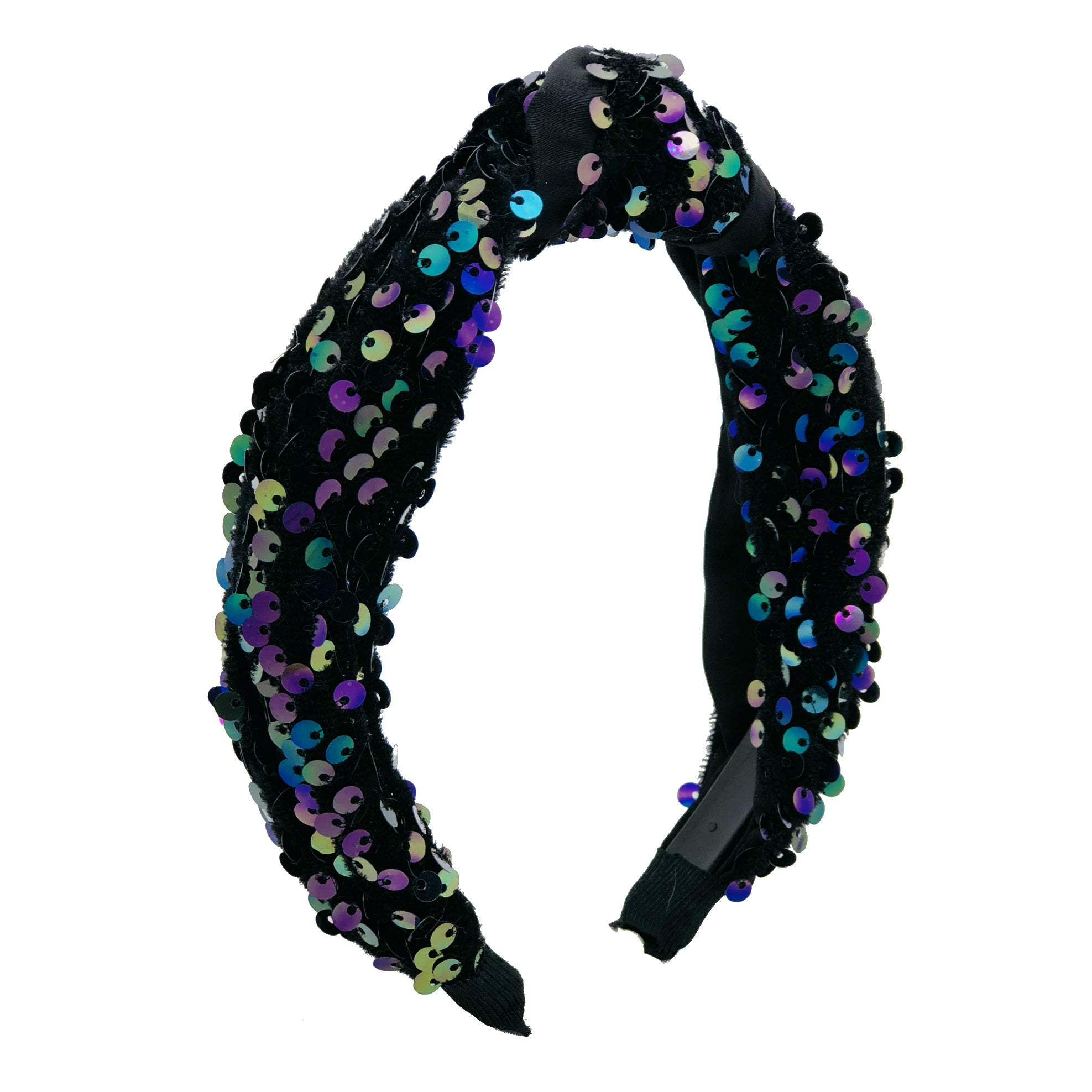 Hair band accessory knot style colourful sequins winter colours