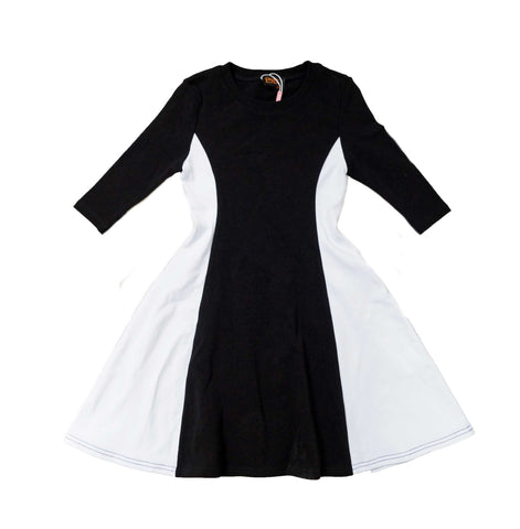 Girls 3/4 Sleeve Two-tone Dress