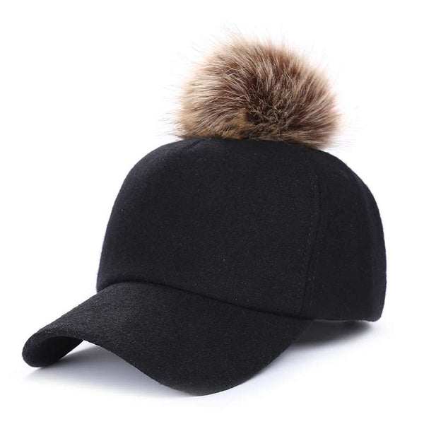 Womens winter felt baseball cap