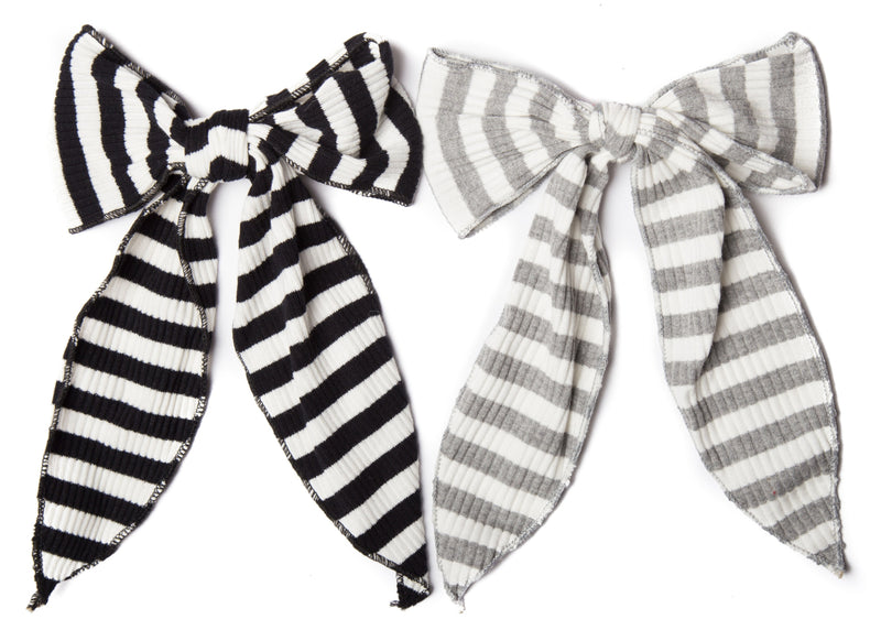 Ribbed Striped Bow Hair Clip