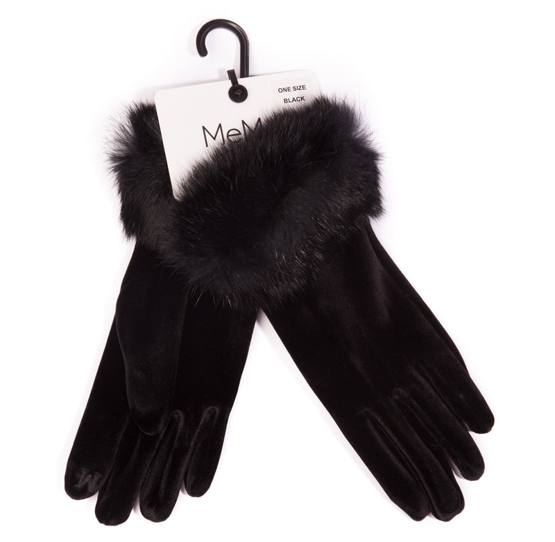 Women's Velvet Gloves with Fur