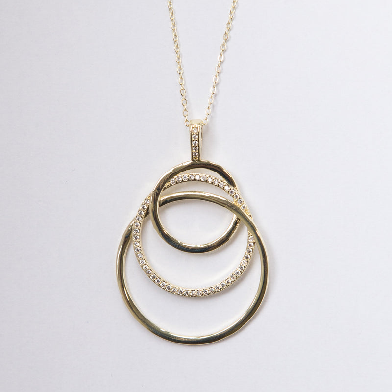 Large Circle Necklace with Crystals