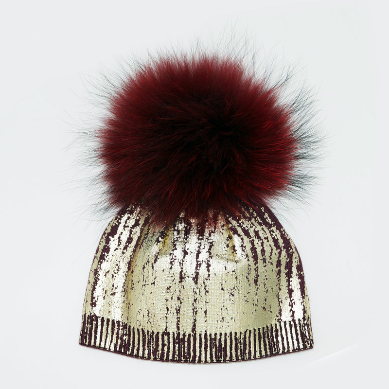 Gold Metallic Pom Pom Hat