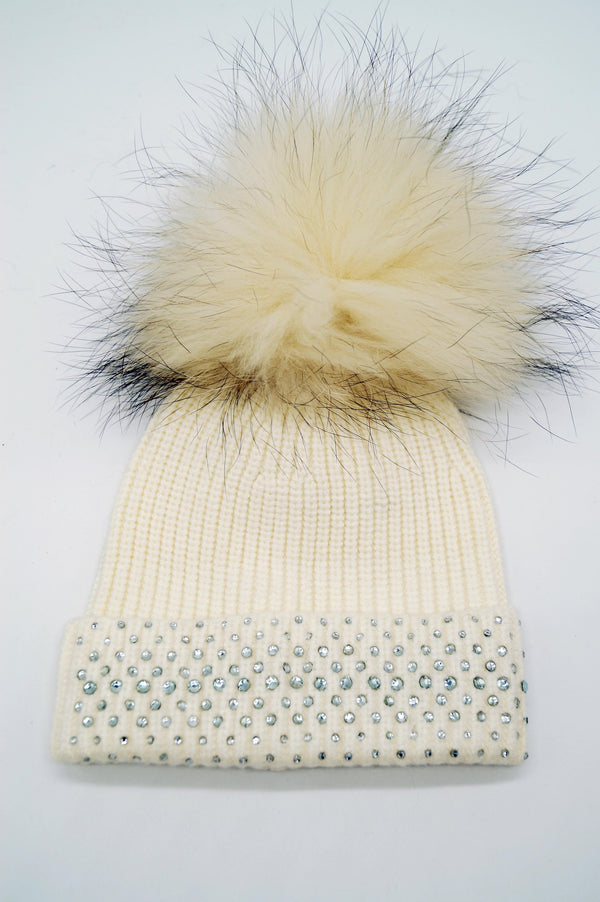 Diamante Turn Up Fur Pom Pom Beanie