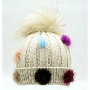 Multi-Colour Pom Pom Winter Hat